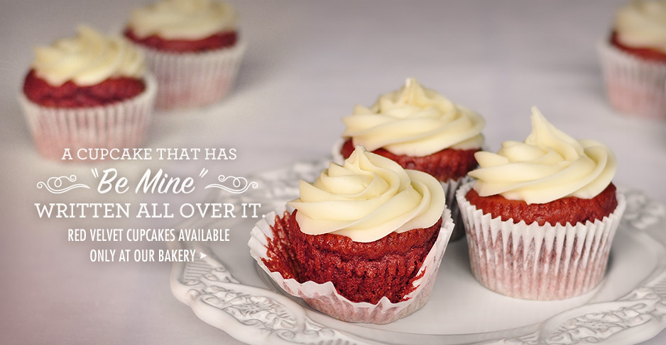 Red velvet cupcakes available only at our bakery